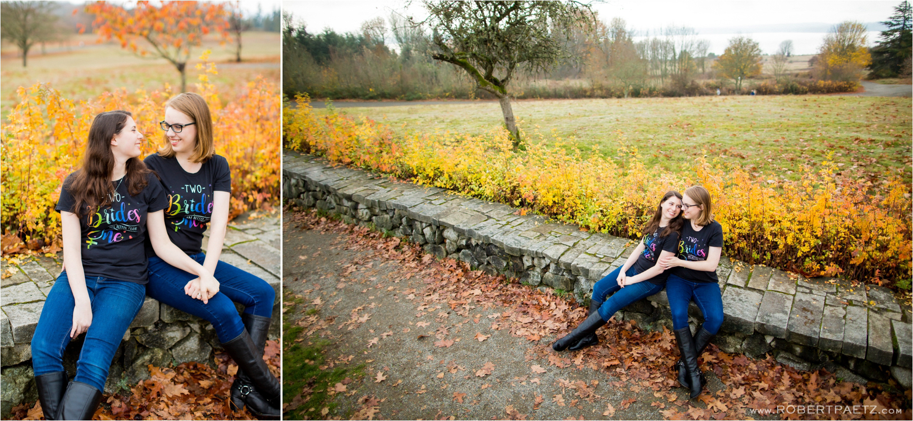 A fall engagement photography session amongst the orange and yellow leaves of Discovery Park in Seattle, photographed by the destination wedding photographer, Robert Paetz.