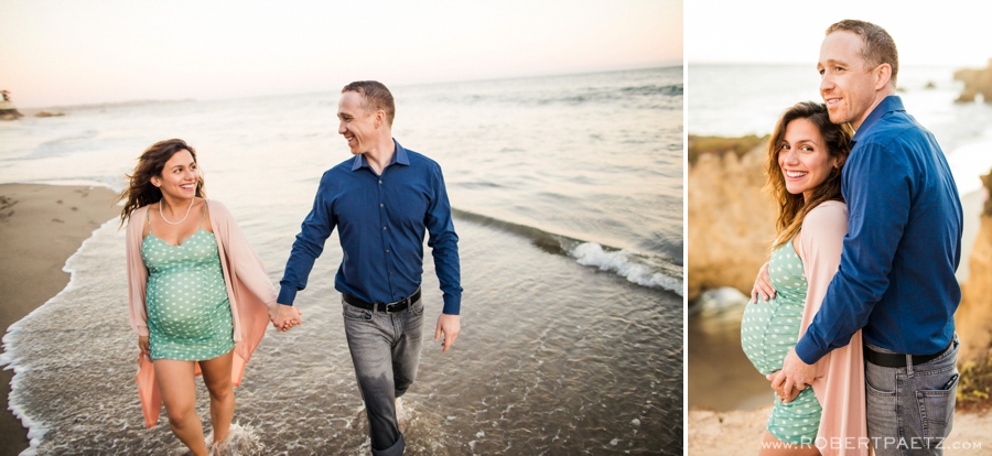 A Malibu California maternity photography session near El Matador state beach, photographed by the west coast destination wedding photographer, Robert Paetz.