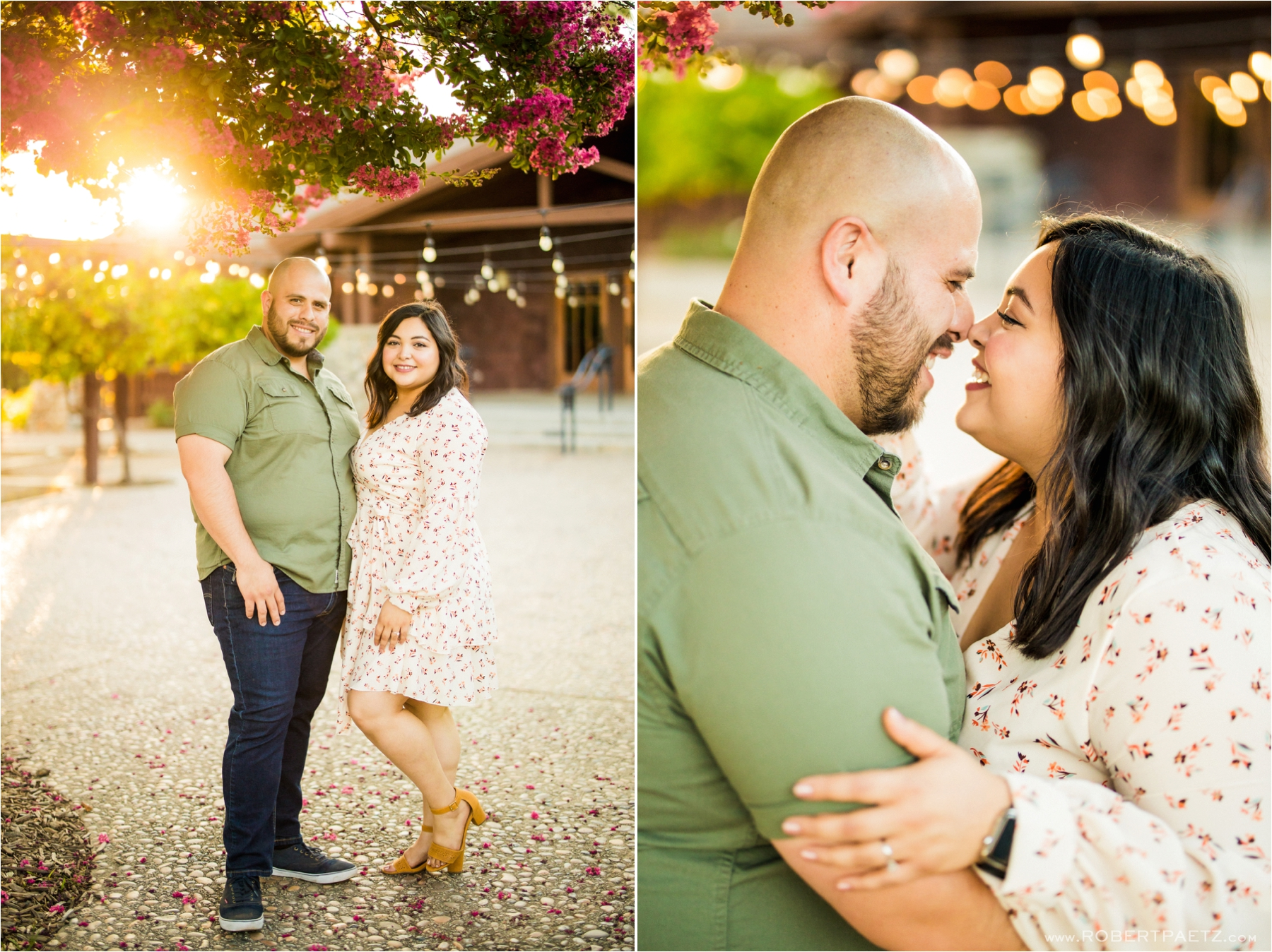 Engagement photography session taking place at the California Citrus State Historic Park in Riverside, California. The session was photographed by the destination wedding photographer, Robert Paetz.
