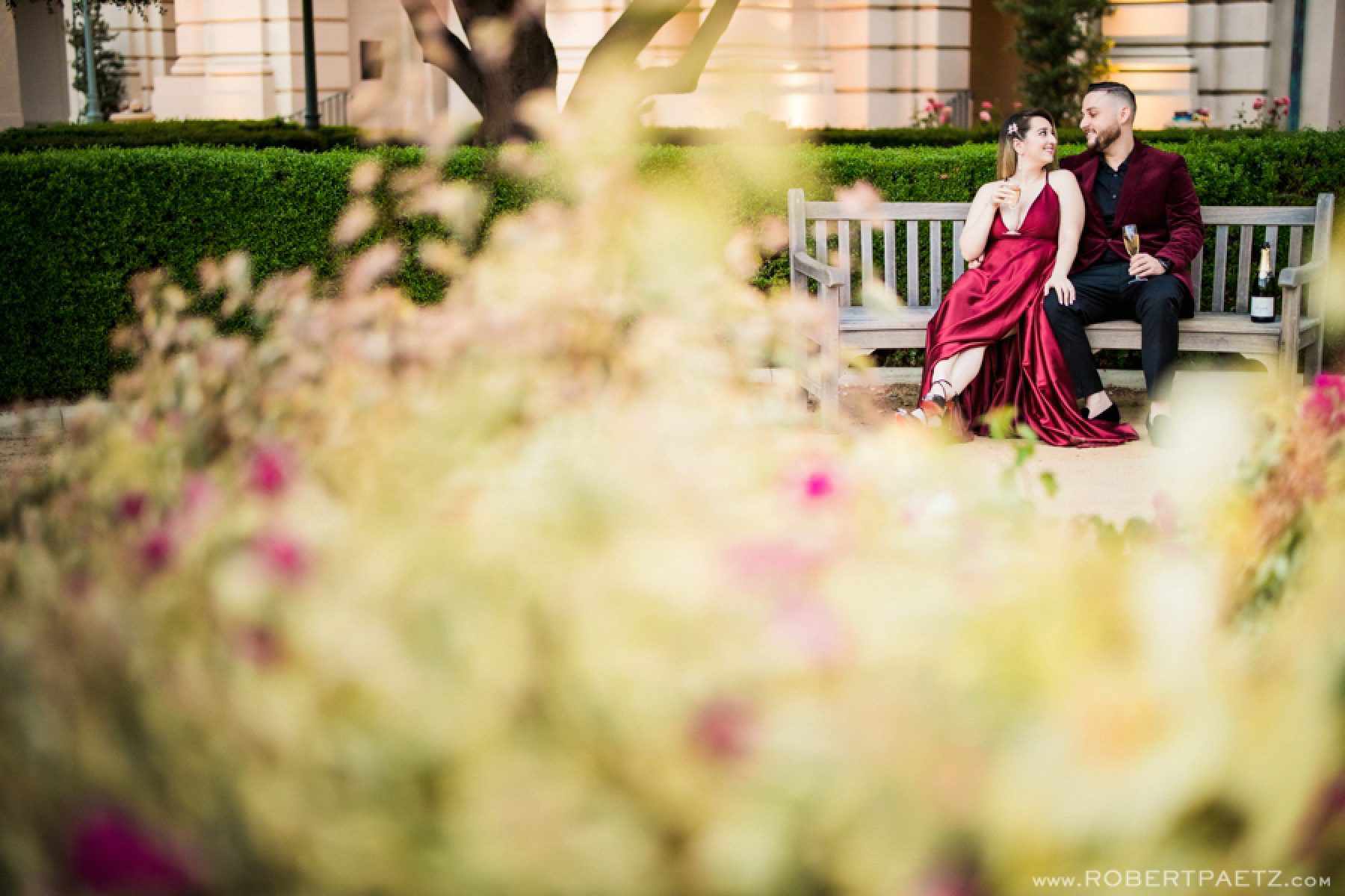 A Pasadena California engagement photography session at Pasadena City Hall, photographed by the west coast destination wedding photographer, Robert Paetz.