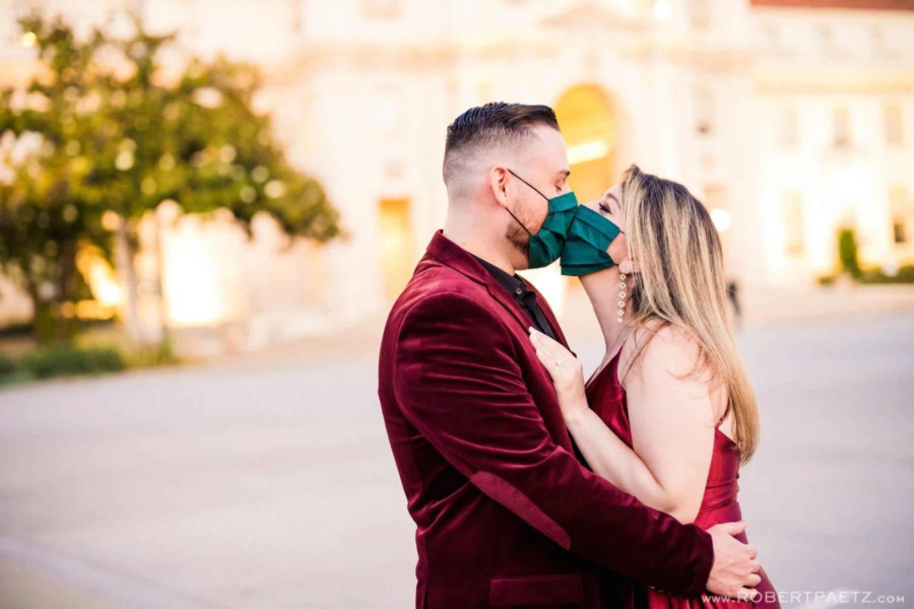A Pasadena California engagement photography session at Pasadena City Hall, photographed by the west coast destination wedding photographer, Robert Paetz.