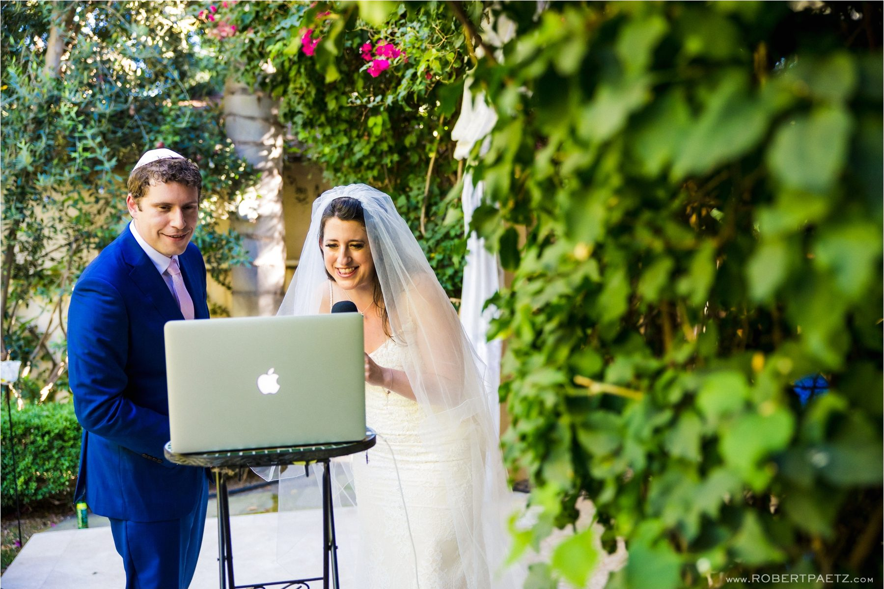 A backyard, social distanced, Zoom wedding in Los Angeles, California, during the Covid-19 pandemic photographed by the destination wedding photographer, Robert Paetz.