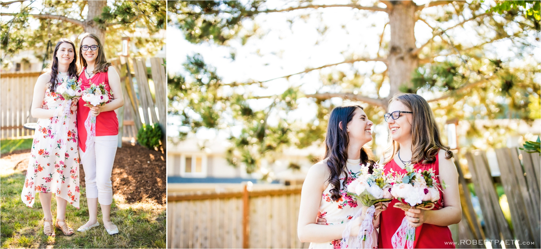 A backyard, social distanced, Zoom wedding in Kirkland Seattle, Washington, during the Covid-19 pandemic photographed by the destination wedding photographer, Robert Paetz.